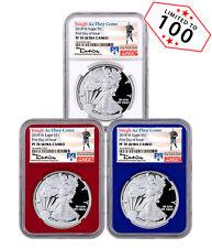 3-Coin Set - 2018-W Proof Silver Eagle NGC PF70 UC FDI RWB Travis Mills SKU53464