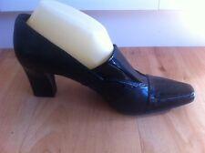 Ladies FRANCO SARTO Black Heels AUS Size 8.5 EU 39.5 Patent Comfort  Block