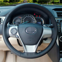 Black Leather Steering Wheel Cover Wrap for Toyota Camry 2012 Venza 2013