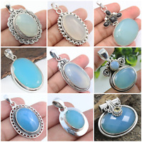 CHALCEDONY 925 STERLING SILVER HANDMADE JEWELRY PENDANTS IN MULTI SHAPE