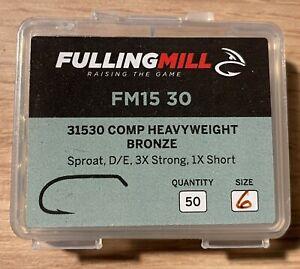 Fulling Mill 31530 Comp Heavyweight Fly Tying Hooks Size 6 - 50 Hooks per pack