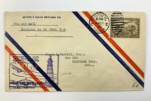 1929 Canadian First Flight Commemorative Covers Montreal To St John Env 801B