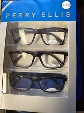 Perry Ellis  Premium Reading Glasses for Men 3 Pack +1.50 Black, Burgundy, Blue
