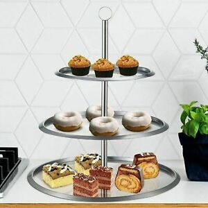 STAINLESS STEEL 3 TIER LAYER ROUND STAND SERVING RACK FOOD CAKE CUPCAKE DISPLAY
