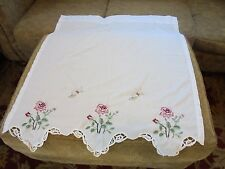 Cafe Tier Curtain Pair Floral Butterfly Embroidery Scallop Lace Romantic Cottage