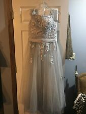 CUSTOMIZED GRAY CRINILINE BALL GOWN LACE TOP CRISS CROSS BACK LGE STRAPS 14-16