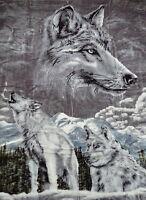Kuscheldecke Tagesdecke Wohndecke Decke Plaid Motiv Silberwolf / Wolf 160x200cm