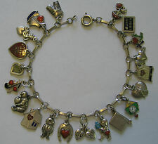 Antique Art Deco German 800 Silver & Enamel Heart Charm Bracelet w/ 20 Charms