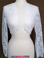 White Lace Bolero Jacket  Long Sleeve  Wedding/Bridal,Prom, *4XLarge *new