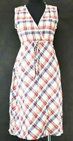 Eddie Bauer Women's Size 6 Sleeveless V-Neck Plaid Cinched Waist Dress Red/Blue