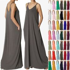 TheMogan PLUS Casual Beach V-Neck Soft Jersey Cami Long Maxi Dress With Pocket