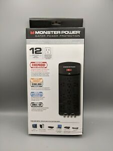 Lot of 3 Monster Power 12 Outlet Surge Protectors 2160 Joules 6' Cord