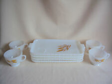 VINTAGE ANCHOR HOCKING MILK GLASS SNACK SET TRAYS AND CUPS 8 PCS IN BOX