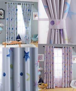 Starfish Seashell Blockout Eyelet Curtains Girls & Boys Childrens Kids Room