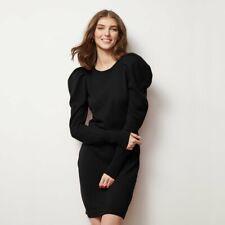 Autumn Cashmere Black Draped Sleeve Mini Sweater Dress Sz S $380
