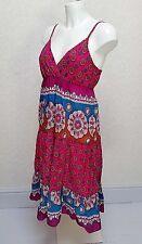 EVIE patterned pink blue Cotton Midi strappy V neck Tiered sundress Frill hem 12