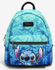 Disney Loungefly Lilo And Stitch Blue Tropical Leaves Lick Mini Backpack