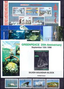 Chad Niger Mongolia Guyana 1996-98 Greenpeace. Ships. Fauna, set + 5 sheets. MNH