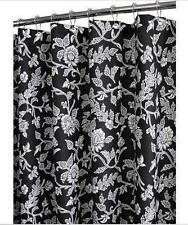 Water Shed FLORAL SWIRL Flowers Black & Off White Fabric 2 in 1 Shower Curtain