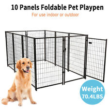 New listing 10-Panel Heavy-Duty Metal Dog Fence 47�H Kennel Enclosure for Large Dogs Outdoor