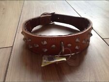 "18"" Brown Tan Leather Studded Spiked Dog Collar"