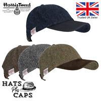 Genuine Harris Tweed 100% Wool Baseball Cap Leather Peaked Hat