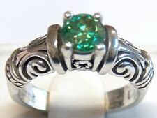 GREEN DIAMOND SCROLL RING SIZE 7 ANTIQUE 925 STERLING SILVER USA MADE