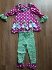 Used Bonnie Jean Outfit Size 3T Pink Green Polka Dots Striped Ruffles 2pc Girly