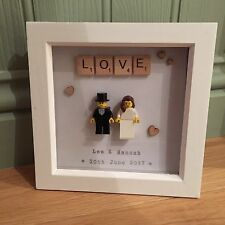 Hand-made, Personalised Lego Wedding Couple In Frame - Perfect Wedding Gift