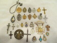 Lot of 30 Vintage Religious Crosses, Medals & Jewelry -  Sterling, Gold Filled
