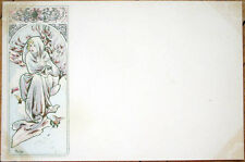 1900 Alphonse Mucha/Artist-Signed Postcard: Four Seasons, Winter/Hiver