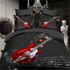 Black Guitar Queen Size Bed Duvet Covers Quilt Doona Cover Set Pillowcases