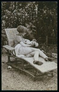 French risque butt woman reclining chair original vintage 1920s photo postcard