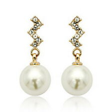Women 18k Rose Gold Plated Dangle White Pearl Wedding Bridal Earring XE22