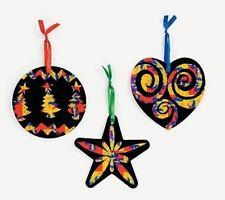 3 Scratch Art Ornaments Kit Craft Christmas Heart Star