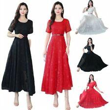 Korean Womens Chiffon Slim Fit Swing Dresses A-Line Short Sleeve Fashion S-4XL