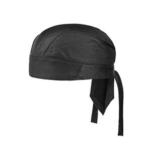 Unisex Mens Women Durag Soft Headwear Cap Biker Leather Outdoor Bandana Black UK