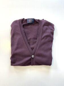 Mens Charles Tyrwhitt 100% Merino Wool Knit Cardigan Jumper Size Medium