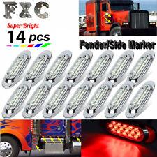 14x 6.5 inch 16LED Clear/Red Side Marker Light For Freightliner Chrome Bezel 12V