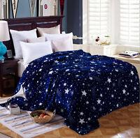 Galaxy Star Flannel Warm Plush Bedding Sleep Blankets Throws Single Double King