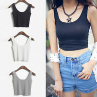 Women Fashion Sleeveless Tank Tops Cami Sleeveless T-Shirt Vest Crop Top Blouse