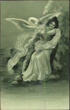 Art Nouveau Fantasy - Greek Myth - Leda and the Swan - Zeus c1910 Postcard