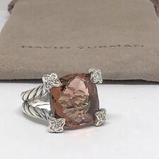 David Yurman Morganite Cushion On Point Diamond Ring Size 7