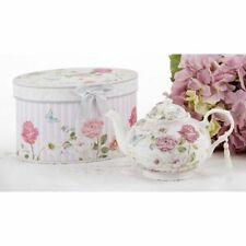 Delton Pink Grace Pattern Porcelain Teapot ,Keepsake Box