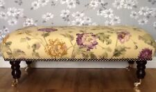 A Quality Long Footstool In Laura Ashley Hepworth Aubergine Fabric