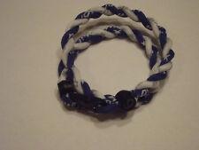 """( Rare Color ) Phiten Tornado Titanium Necklace  ( Navy Blue and White )  18"""""""