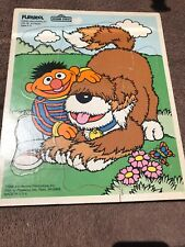 Vintage Childrens Wooden Puzzle-Playskool, 1988, Sesame Street, Ernie & Barkley