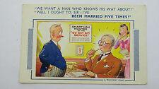 1950s Risque Vintage Comic Postcard Recruitment Employment Agency HR Secretary