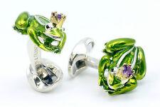 Deakin and Francis Silver & Enamel Green Frog Prince Amethyst  Cufflinks