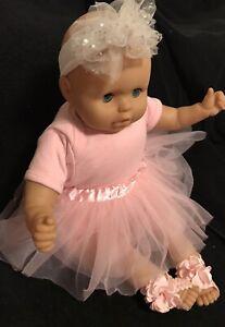 "22"" KS TOYS CLOTH BODY VINYL BABY DOLL INCLUDES 2 OUTFITS THUMBSUCKER BLUE EYES"